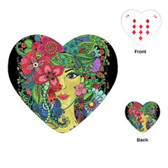 Mandala Figure Nature Girl Playing Cards (heart)  by Celenk