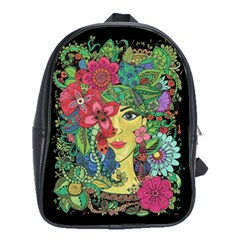 Mandala Figure Nature Girl School Bag (large) by Celenk