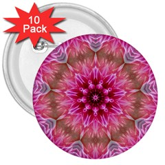 Flower Mandala Art Pink Abstract 3  Buttons (10 Pack)  by Celenk