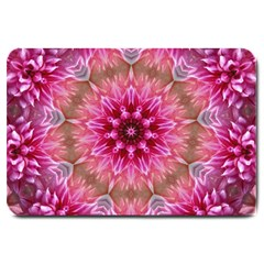Flower Mandala Art Pink Abstract Large Doormat  by Celenk