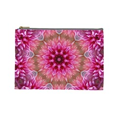Flower Mandala Art Pink Abstract Cosmetic Bag (large)  by Celenk