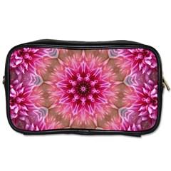 Flower Mandala Art Pink Abstract Toiletries Bags 2 Side by Celenk