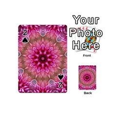 Flower Mandala Art Pink Abstract Playing Cards 54 (mini)  by Celenk