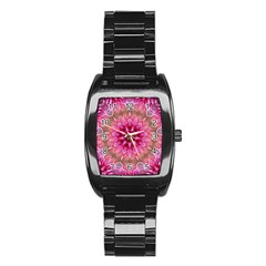 Flower Mandala Art Pink Abstract Stainless Steel Barrel Watch