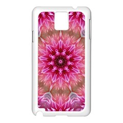 Flower Mandala Art Pink Abstract Samsung Galaxy Note 3 N9005 Case (white) by Celenk