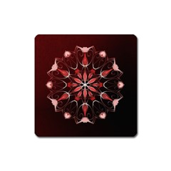 Mandala Red Bright Kaleidoscope Square Magnet by Celenk