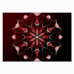 Mandala Red Bright Kaleidoscope Large Glasses Cloth (2 Side) by Celenk