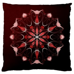 Mandala Red Bright Kaleidoscope Large Cushion Case (two Sides) by Celenk