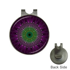 Purple Mandala Fractal Glass Hat Clips With Golf Markers by Celenk