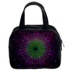 Purple Mandala Fractal Glass Classic Handbags (2 Sides) by Celenk