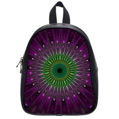 Purple Mandala Fractal Glass School Bag (small) by Celenk
