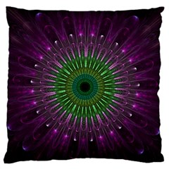 Purple Mandala Fractal Glass Large Flano Cushion Case (two Sides) by Celenk