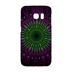 Purple Mandala Fractal Glass Galaxy S6 Edge by Celenk