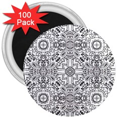 Mandala Pattern Line Art 3  Magnets (100 Pack) by Celenk