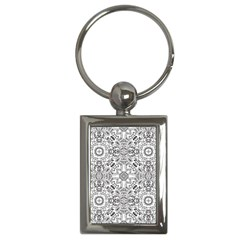 Mandala Pattern Line Art Key Chains (rectangle)  by Celenk