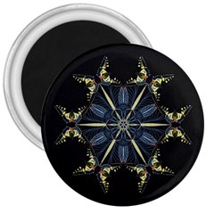 Mandala Butterfly Concentration 3  Magnets by Celenk