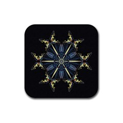 Mandala Butterfly Concentration Rubber Square Coaster (4 Pack)  by Celenk