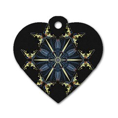 Mandala Butterfly Concentration Dog Tag Heart (one Side) by Celenk