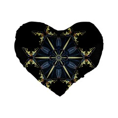 Mandala Butterfly Concentration Standard 16  Premium Flano Heart Shape Cushions by Celenk