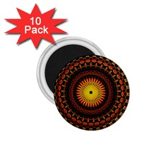 Mandala Psychedelic Neon 1 75  Magnets (10 Pack)  by Celenk
