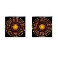 Mandala Psychedelic Neon Cufflinks (square) by Celenk