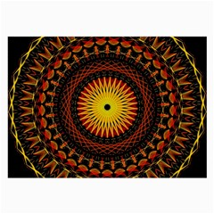 Mandala Psychedelic Neon Large Glasses Cloth by Celenk