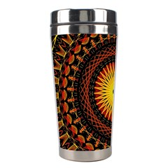 Mandala Psychedelic Neon Stainless Steel Travel Tumblers by Celenk
