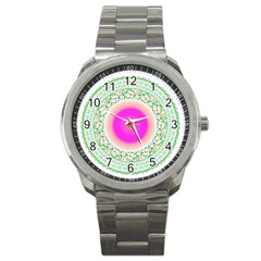 Flower Abstract Floral Sport Metal Watch by Celenk