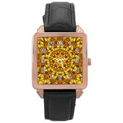 Abstract Antique Art Background Rose Gold Leather Watch  by Celenk