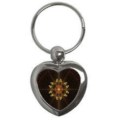 Fractal Floral Mandala Abstract Key Chains (heart)  by Celenk