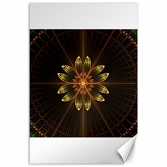 Fractal Floral Mandala Abstract Canvas 24  X 36  by Celenk