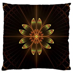 Fractal Floral Mandala Abstract Large Cushion Case (two Sides) by Celenk