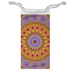 Geometric Flower Oriental Ornament Jewelry Bag by Celenk