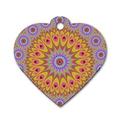 Geometric Flower Oriental Ornament Dog Tag Heart (one Side) by Celenk