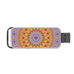 Geometric Flower Oriental Ornament Portable Usb Flash (two Sides) by Celenk