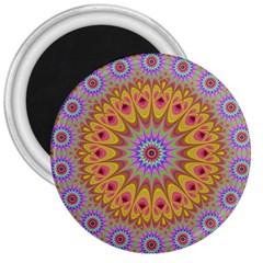 Geometric Flower Oriental Ornament 3  Magnets by Celenk