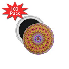 Geometric Flower Oriental Ornament 1 75  Magnets (100 Pack)  by Celenk