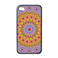 Geometric Flower Oriental Ornament Apple Iphone 4 Case (black) by Celenk