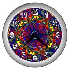 Kaleidoscope Pattern Ornament Wall Clocks (silver)  by Celenk