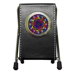 Kaleidoscope Pattern Ornament Pen Holder Desk Clocks by Celenk