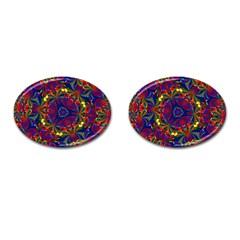 Kaleidoscope Pattern Ornament Cufflinks (oval) by Celenk