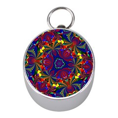 Kaleidoscope Pattern Ornament Mini Silver Compasses by Celenk