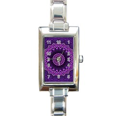 Mandala Purple Mandalas Balance Rectangle Italian Charm Watch by Celenk