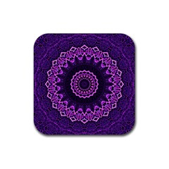 Mandala Purple Mandalas Balance Rubber Coaster (square)  by Celenk