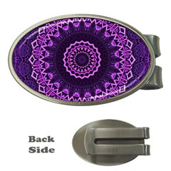 Mandala Purple Mandalas Balance Money Clips (oval)  by Celenk