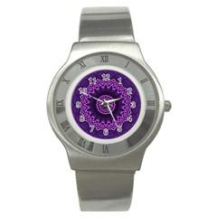 Mandala Purple Mandalas Balance Stainless Steel Watch by Celenk