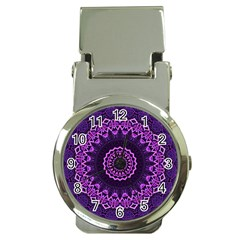 Mandala Purple Mandalas Balance Money Clip Watches by Celenk