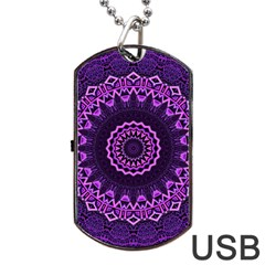 Mandala Purple Mandalas Balance Dog Tag Usb Flash (two Sides) by Celenk