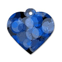 Circle Rings Abstract Optics Dog Tag Heart (one Side) by Celenk