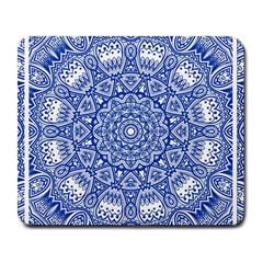 Blue Mandala Kaleidoscope Large Mousepads by Celenk